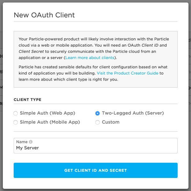 Create Two Legged OAuth Client