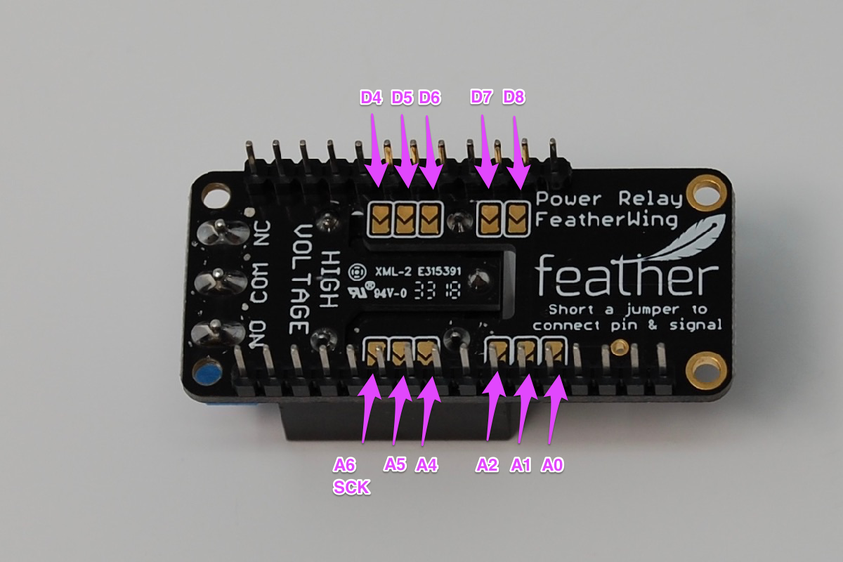 Power Relay FeatherWing Underside